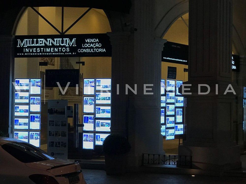Painel LED Iluminado na vitrine da Millennium Investimentos