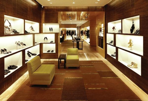Iluminação comercial em loja da Louis Vuitton, Sistema de iluminação para vitrines