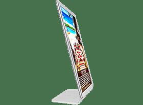 Display iluminado de mesa da VitrineMedia com suporte em acrílico para imobiliárias