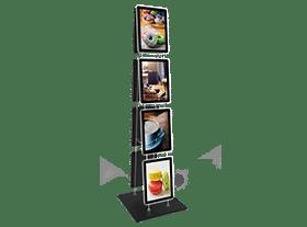 Display iluminado para uso em chão da VitrineMedia para imobiliária