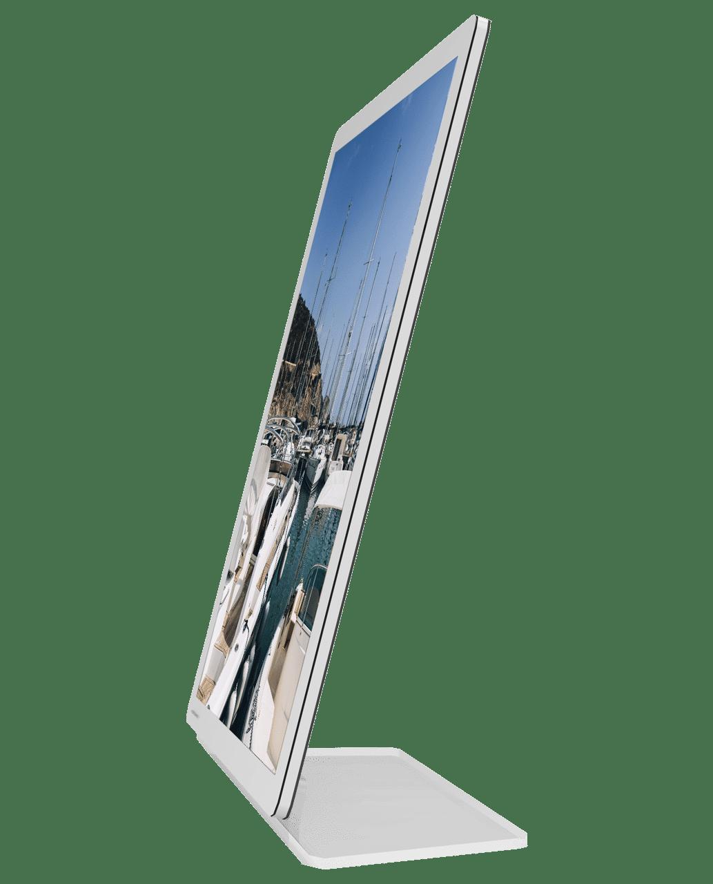 Painel de LED VitrineMedia slim, ultra fino, com base em acrílico no formato L para ser instalado em balcões e mesas