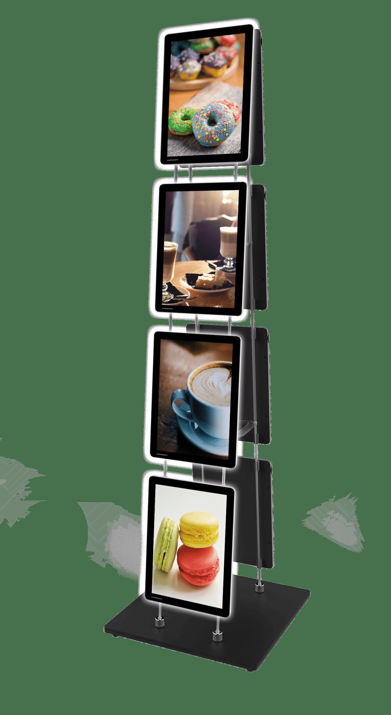 Painel em LED da VitrineMedia, instalado em totem VM Stand Easy Clip