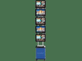 Painel VitrineMedia com caixa com rodízios que permitem que ele seja transportado com facilidade