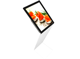 Painel VitrineMedia em LED com suporte em acrílico no formato Z, ideal para comunicação de lojas e restaurante