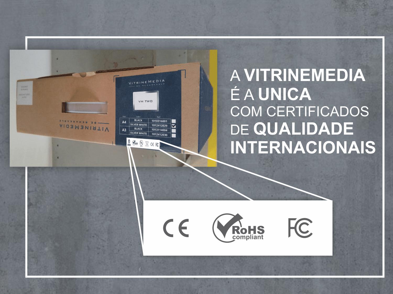 Embalagem dos painéis de LED da VitrineMedia, com todas as certificações inernacionais