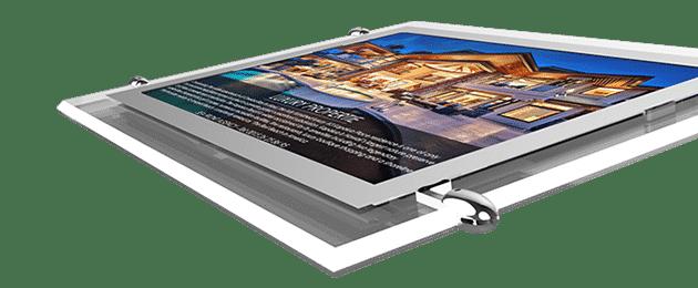Painel display led para iluminação de vitrines com acrílico ultrafino